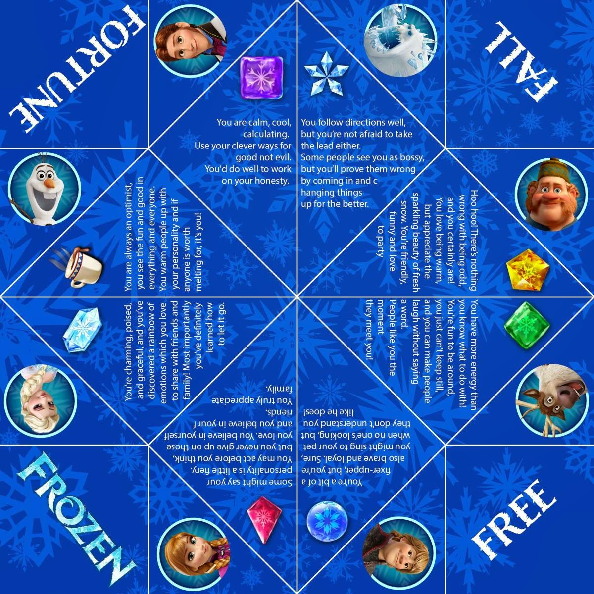 image regarding Printable Fortune Teller identified as Absolutely free Printable Frozen Fortune Teller. Oh My Handicrafts!