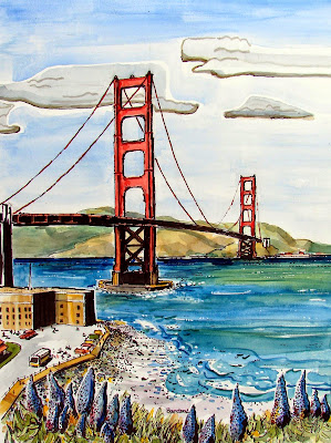 Terry S Ink And Watercolor Golden Gate Bridge Two