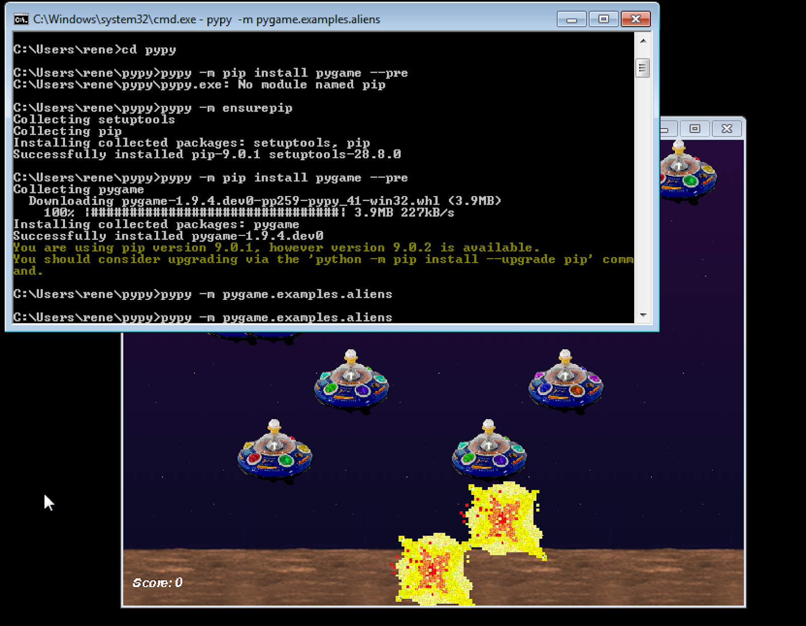windows pypy pygame build for testing