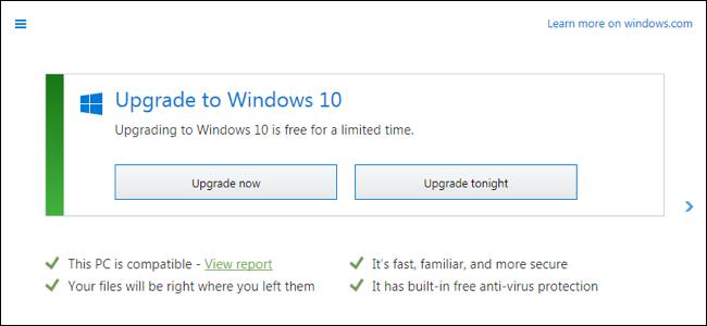 Pulsanti Windows aggiorna ora oppure aggiorna stasera