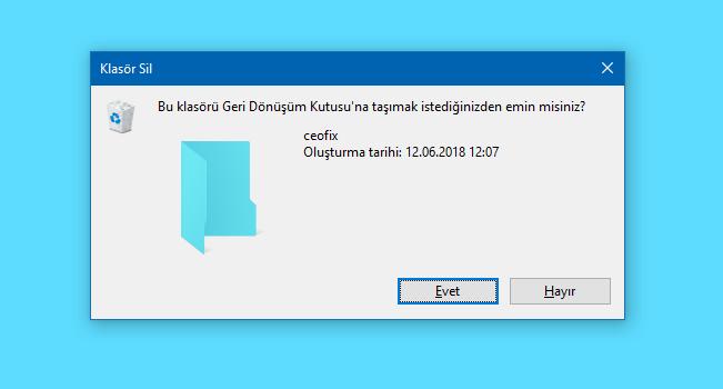Windows'da Dosya Silme Onayı Etkinleştirme-www.ceofix.com