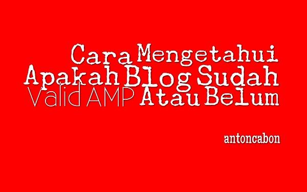 Cara Mengetahui Apakah Blog Sudah Valid AMP Atau Belum