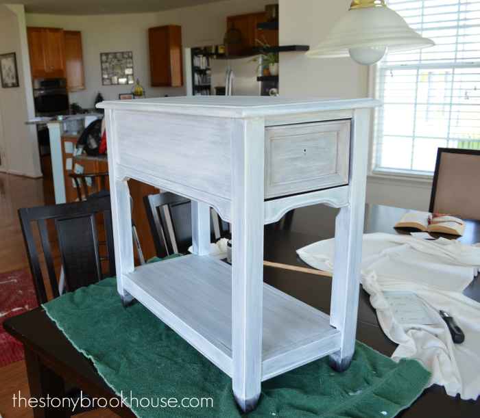 White Washed End Table