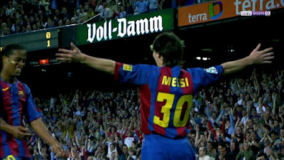 The First Official Goal for Leo Messi With Barcelona