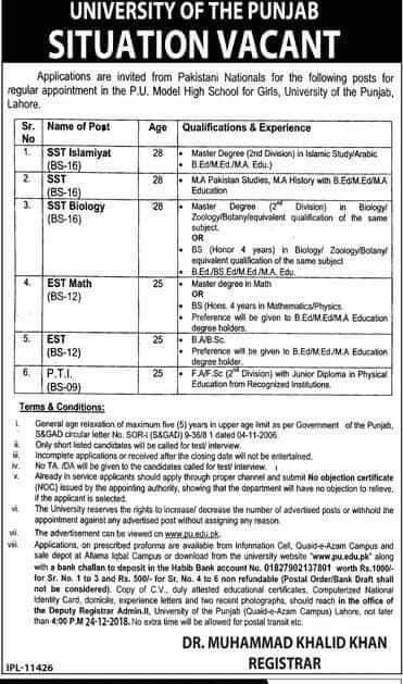 Punjab University Lahore Jobs December 2018 Download Application Form