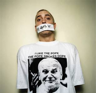 As worn by Eminem - I Like The Pope The Pope Smokes Dope T-shirt. PYGOD.COM