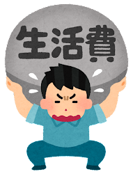 重圧に苦しむ人のイラスト(男性・生活費)