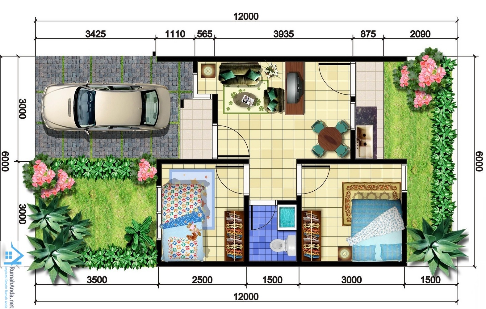 69 Desain Rumah Minimalis Ukuran 6x12 Terbaru Kumpulan Denah 1