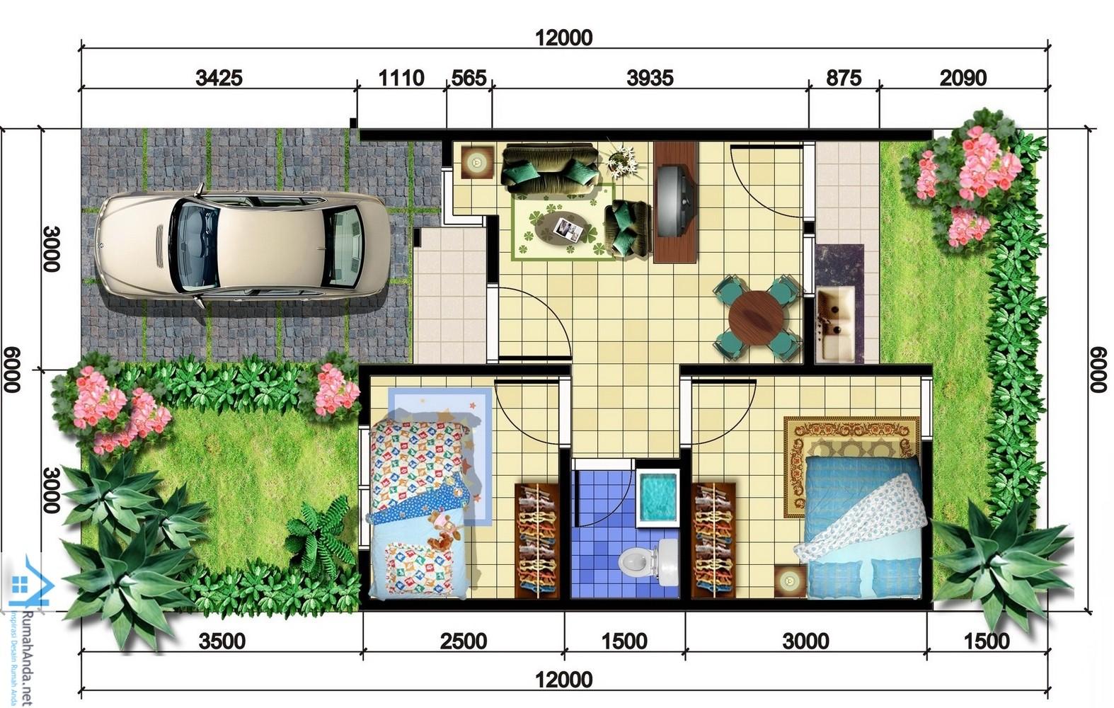 Denah Rumah Minimalis 1 Lantai Ukuran 5x12 Desain Rumah Minimalis