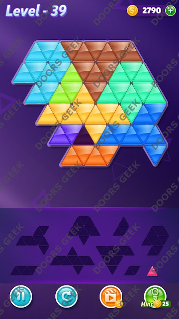 Block! Triangle Puzzle 9 Mania Level 39 Solution, Cheats, Walkthrough for Android, iPhone, iPad and iPod