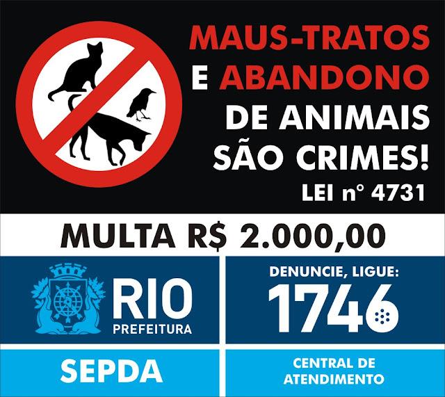 Abandonar ou maltratar animais é crime. Pena: 3 meses a 1 ano de detenção e multa (Lei Federal 9605/98).