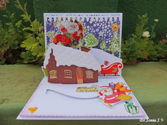 Cards crafts kids projects christmas pop up and slider card for Pop up card craft