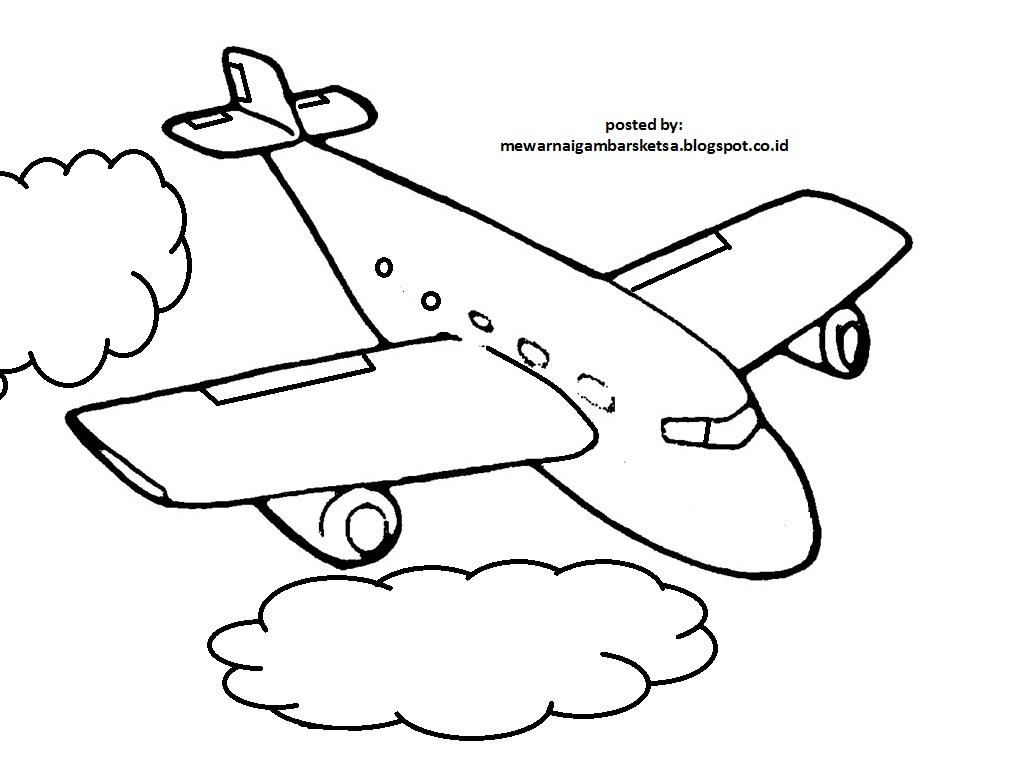 Mewarnai Gambar Mewarnai Gambar Sketsa Pesawat 1