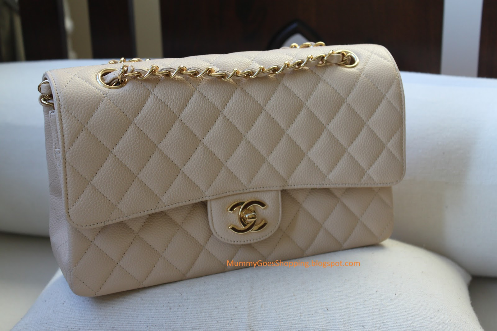 dfa4913f57fb SOLD! Chanel Caviar Beige Medium Classic Flap with GHW ...