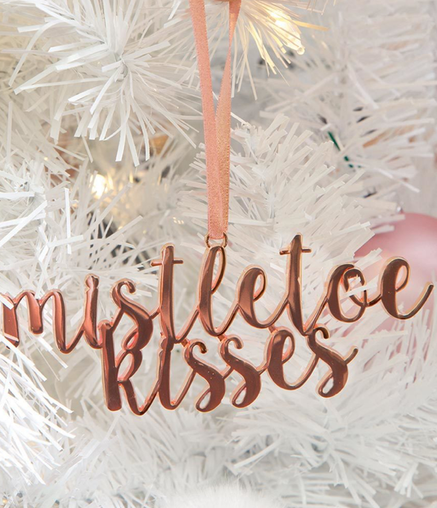 Rose Gold Mistletoel Ornament