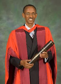 The dictator and war criminal Paul  Kagame at the University of Glasgow
