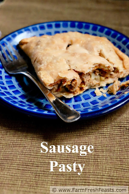picture of a sausage pasty meat pie serving