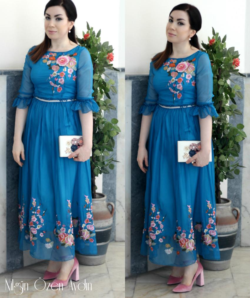 alışveriş-Nakışlı Şifon Mavi Elbise-moda blogu-fashion blog-fashion blogger