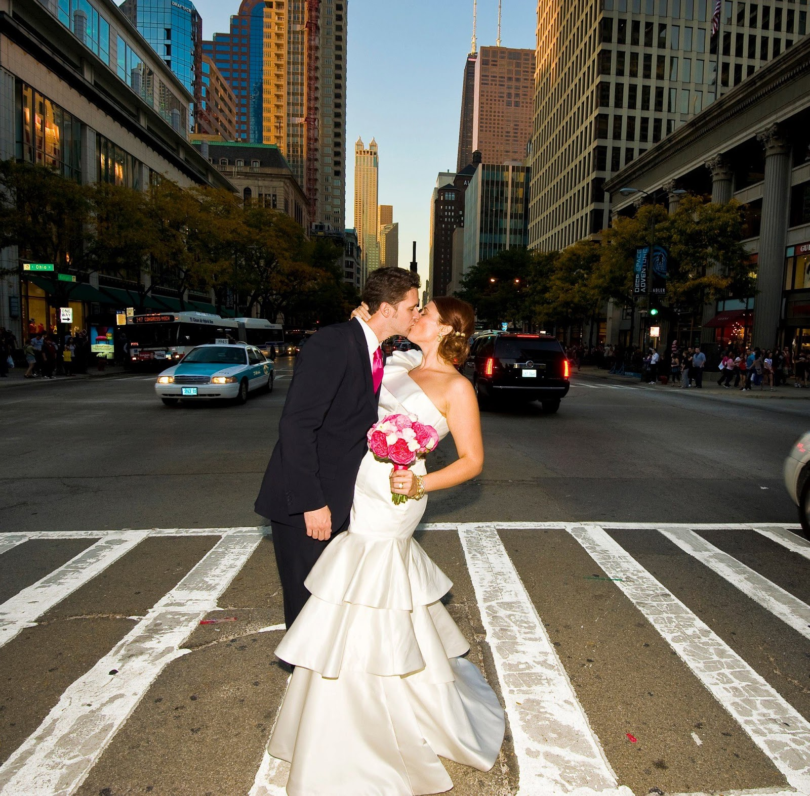 Chicago, wedding, hot pink
