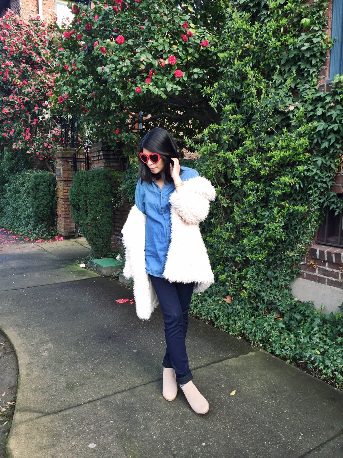 portland blogger, pdx fashion blogger, fblogger, chambray shirt, dark jeans, fluffy faux fur coat, heart sunglasses, camel boots, wiwt, style diaries, portland street style, style the bump, maternity style