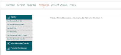 Halaman Transaksi Internet Bankin BNI