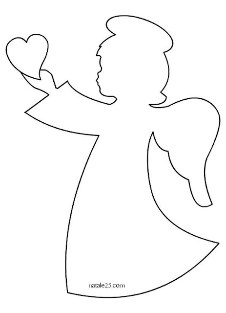 Angel with Heart: Free Printable Template.