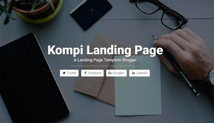 Kompi Landing Page, Free Responsive Landing Page Blogger Template