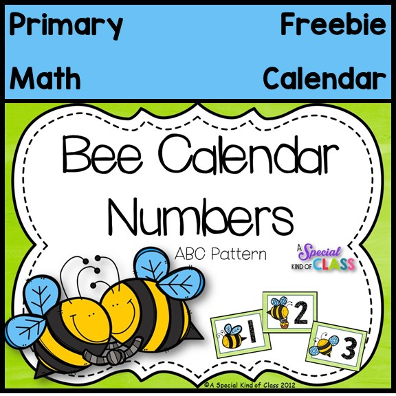 A Special Kind Of Class Bee Calendar Numbers Freebie