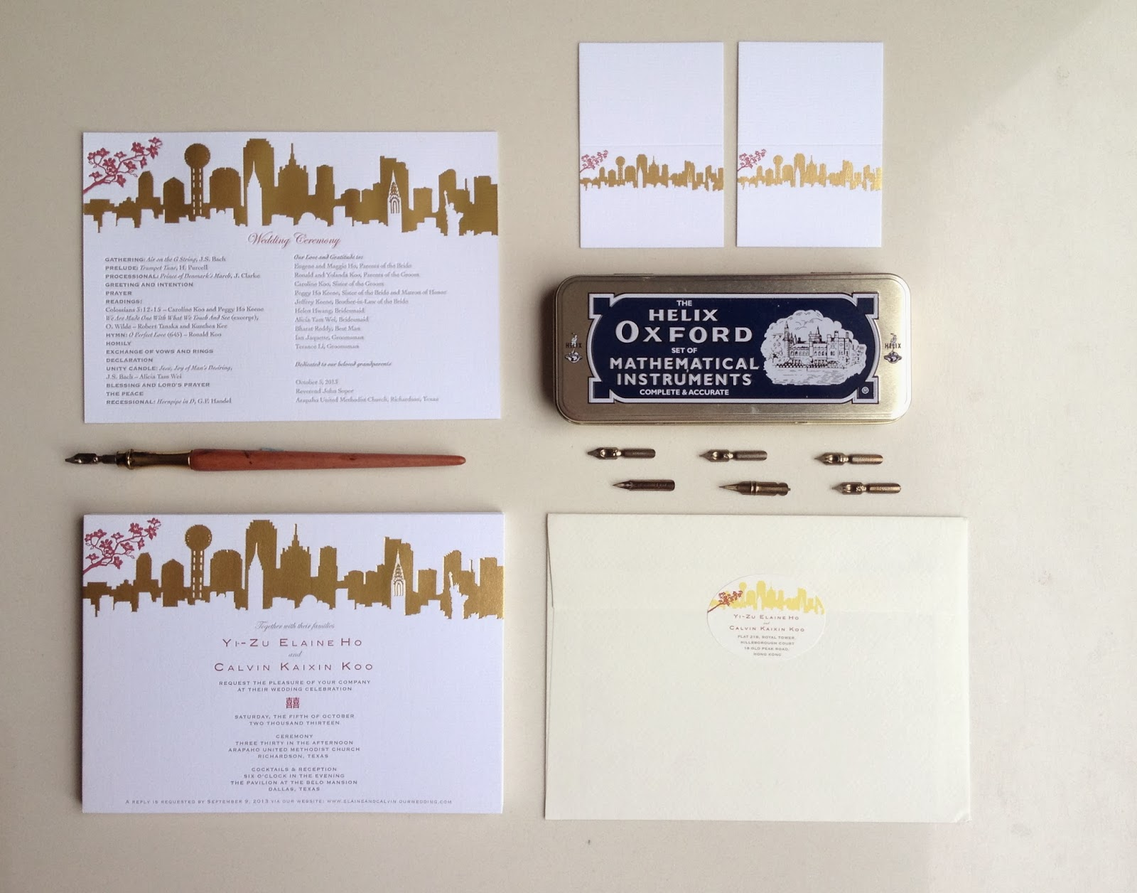 Skyline Lover New York And Dallas For Hong Kong Couple In House Wedding Invitation Design