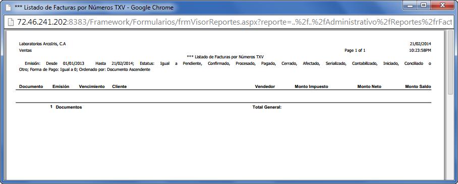 El Reporte no Muestra Registros - Programación de Reportes en eFactory ERP/CRM, Contabilidad, Nómina