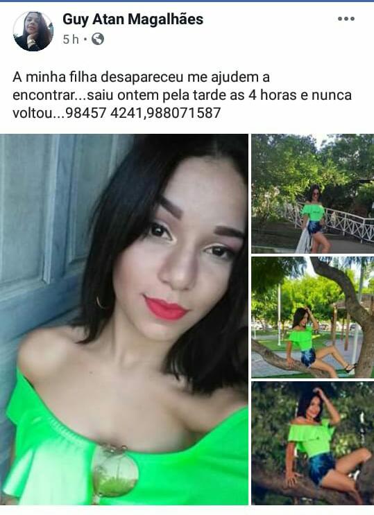 CAXIAS - Mãe de jovem desaparecida anuncia nas redes sociais que filha apareceu