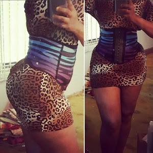 Checkout the Hot curves on Omotola in waist trainer (Photos)