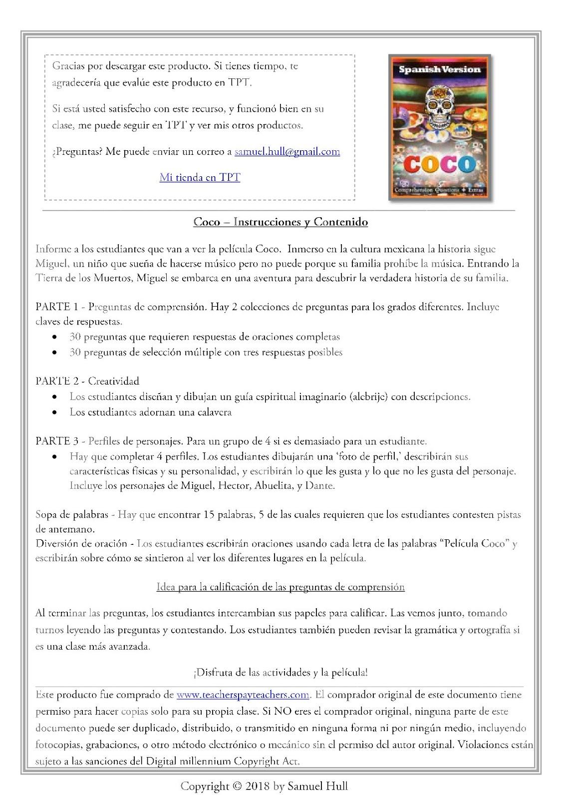 Coco Movie Guide In Spanish En Espanol Activities Answer Key