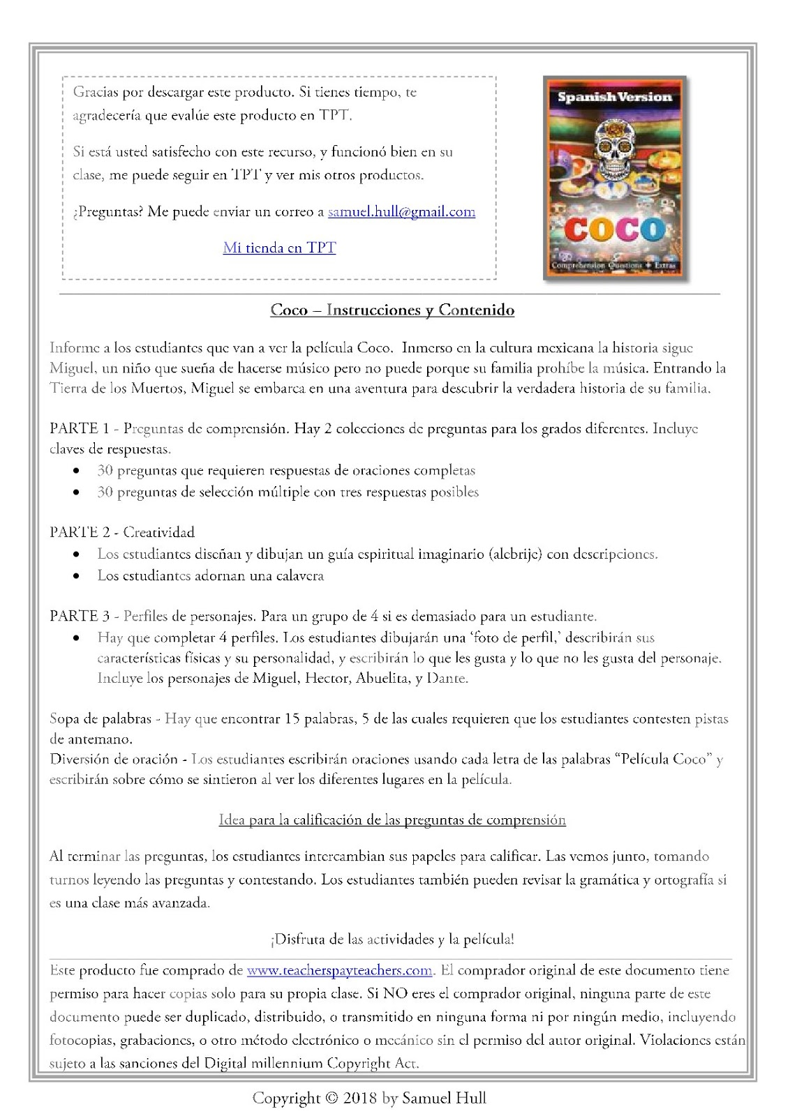 Coco Movie Guide In Spanish En Espanol Activities