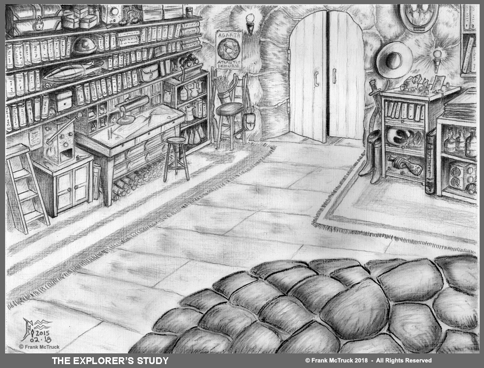 Frank McTruck ink and ink wash art - 'The Explorer's Study'