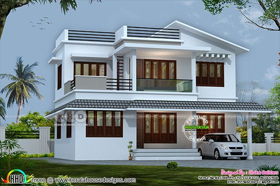 5 BHK modern flat roof house in an area of 2070 sq-ft