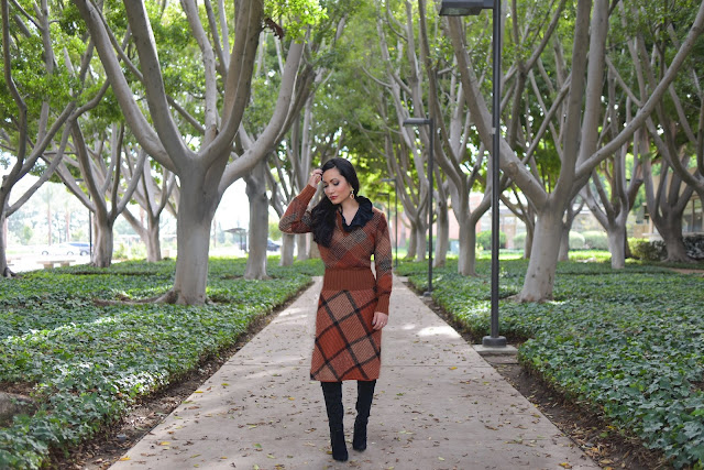 Rust Wool Missoni Check Outfit Donald J. Pliner Highly Embelished Black Stiletto Boots Nature Walk Tree Branches Joanna Joy A Stylish Love Story Blog California Fashion Lifestyle Blogger