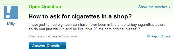 Bad Questions For Yahoo Answers