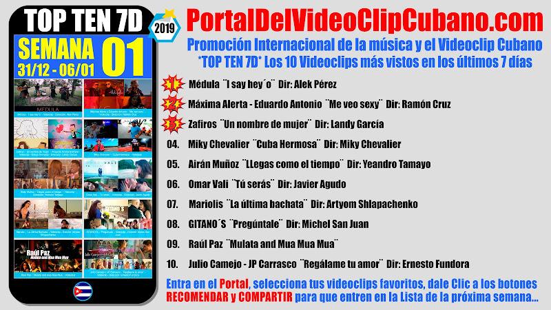 Artistas ganadores del * TOP TEN 7D * con los 10 Videoclips más vistos en la semana 01 (31/12 a 06/01 de 2019) en el Portal Del Vídeo Clip Cubano