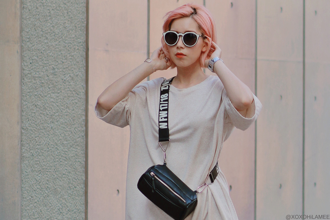 Japanese Fashion Blogger,MizuhoK,20190803OOTD, GU tee dress, zara sneakers, crossbody, zeroUV sunglasses, i like paper watch