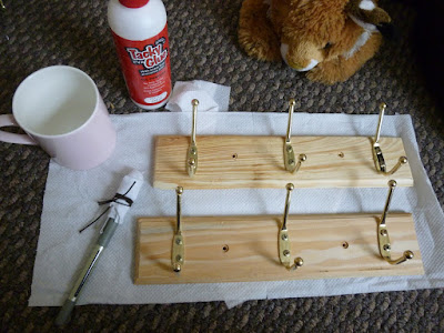 DIY wrapping paper coat hooks