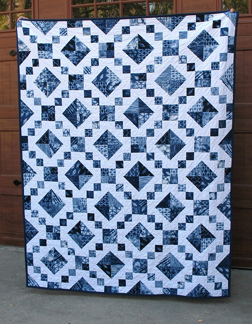Shibori Style Jewel Box Quilt Free Pattern designed by Ruth of Ye Olde Sweatshop