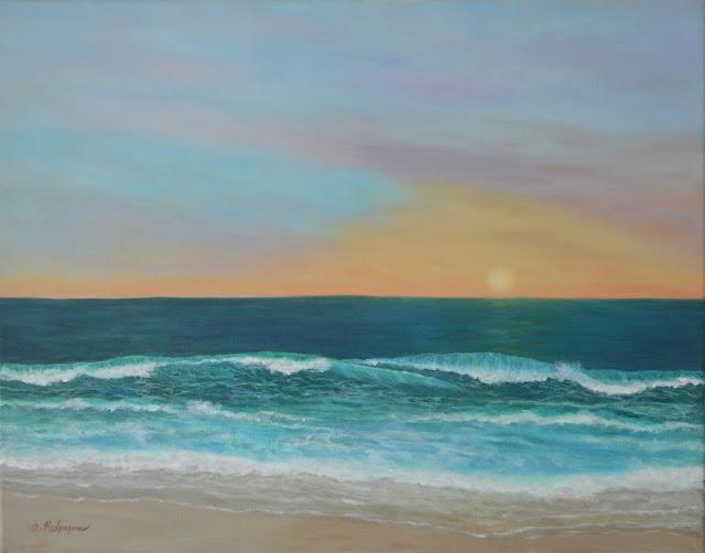 Coastal Decor Painting of a sunset seascape