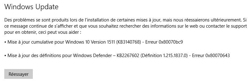 mêmes mises à jour Windows continuent d'installer xpel