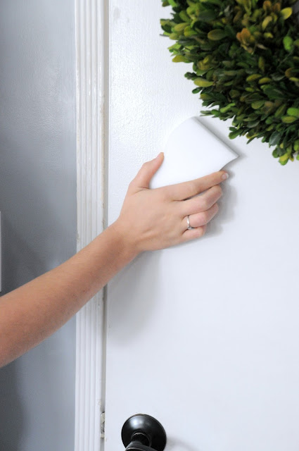 Use a magic cleaning sponge for cleaning the back of doors