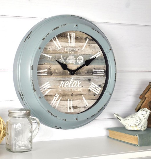 Coastal Wall Clock with Quote
