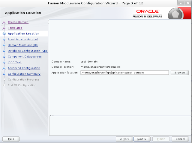 Weblogic domain creation step 3