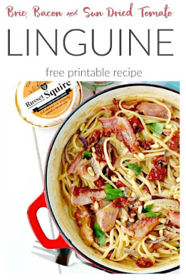 Brie Linguine with Bacon, Sun Dried Tomatoes and Pine Nuts