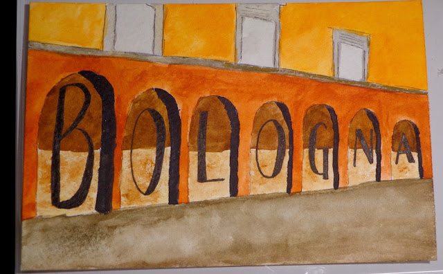 Bologna watercolor postcard
