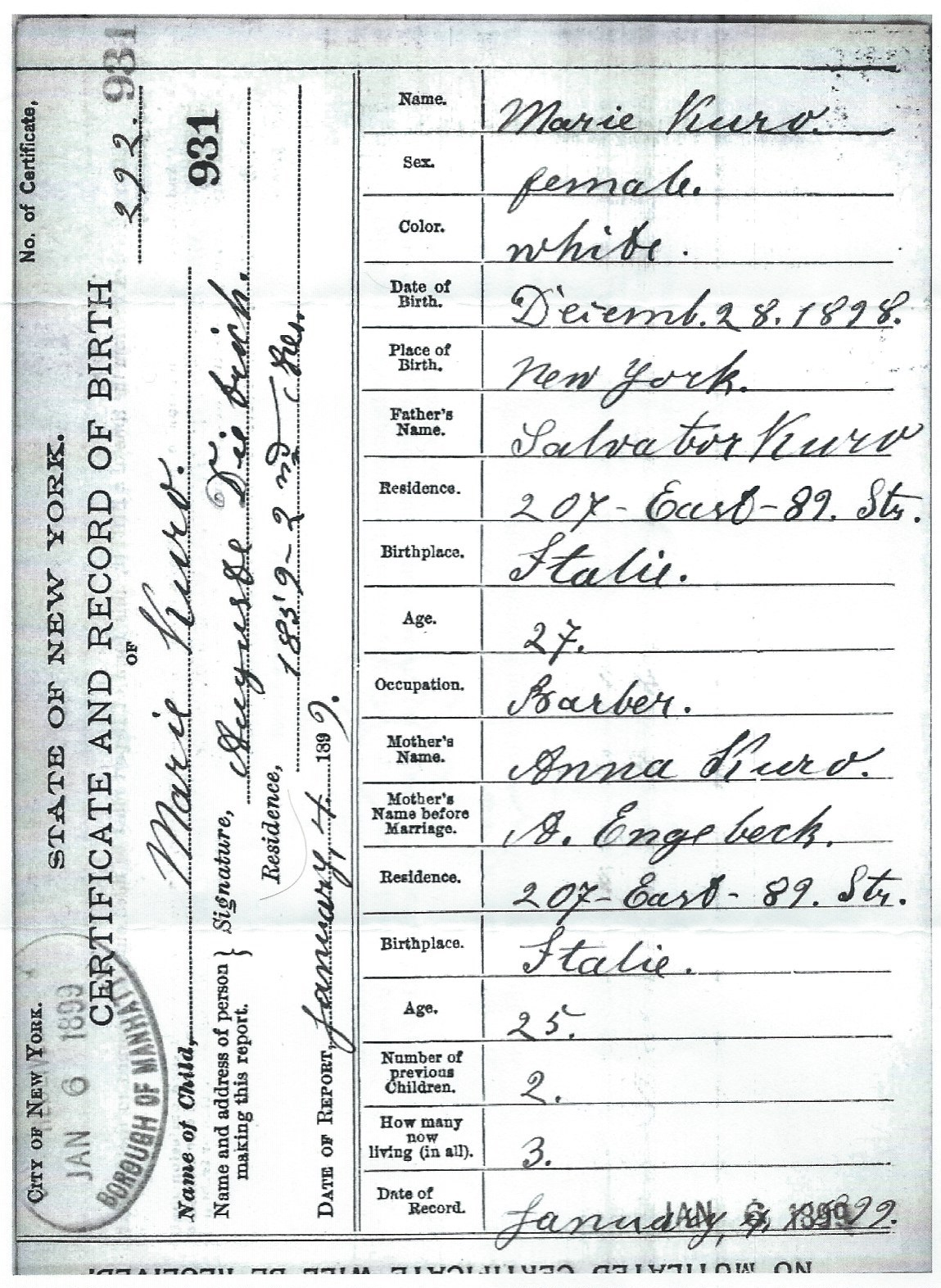 Jeannettes take on life birth report marie cecillia curro b marie kuro in the new york new york extracted birth index 1878 1909 aiddatafo Images